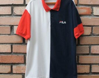 Vintage Fila Sport Color Block Polo Shirt M