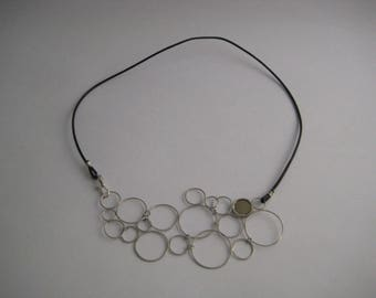 Silver bubbles necklace, necklace with silver circles, handmade necklace, sterling silver necklace