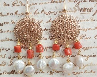 Pearl and coral earrings with mandala