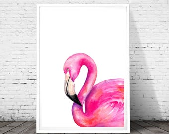 Flamingo Print, Pink Flamingo, Pink Flamingo Print, Modern Wall Art, Beach Wall Art Print, Coastal Decor, Watercolor, minimalist poster