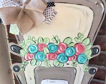 Vintage Truck Door Hanger - Door Hanger - Vintage Truck - Floral Sign - Welcome Sign - Personalized Home Decor -  Wedding Shower Gift