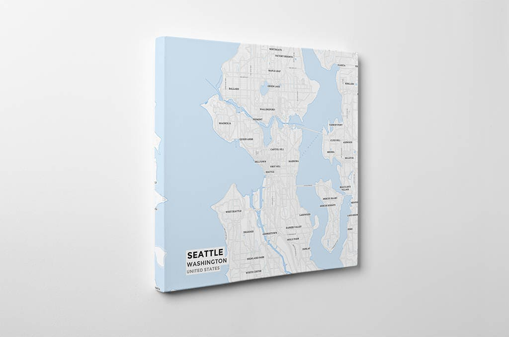 Gallery Wrapped Map Canvas of Seattle Washington Subtle Ski Map
