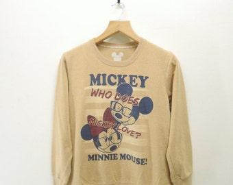 Vintage Mickey & Minnie Mouse Disney camiseta divertida de la historieta animación suéter talla L