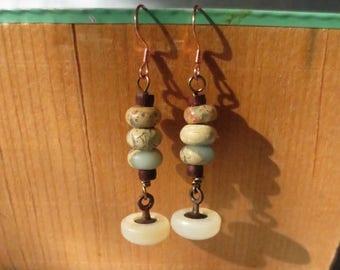 Vintage Button Drop Earrings