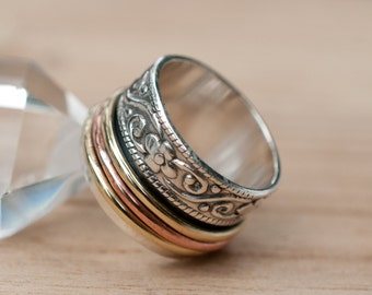 Spinner Ring * Meditation * Spinning * Spin * Anxiety * Sterling Silver 925 * Copper * Bronze * Jewelry * Bycila * Handmade * Yoga * BJS026