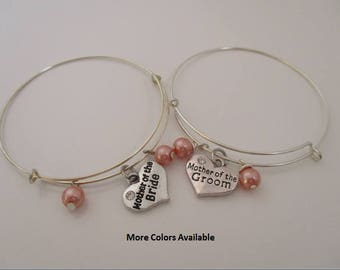 Mother of the Bride / Groom Pearl & Charm Expandable Multi-Layer Bracelets-Set of 2-Mother of the Bride gift-Mother of the Groom gift, B1195