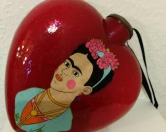 Frida & Burning heart large ganging glass heart Ooak