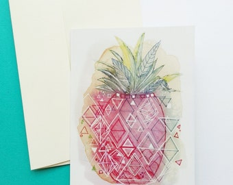 """Pineapple Cards / Blank Greeting Cards / """"Pineapple Pop"""" Art Print Card / Minnie&Lou Art Illustration Cards / Fruity Cards / Card Sets"""