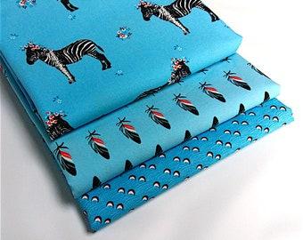 Lot 3 coupons 50 cm x 49 cm Zebraloha blue, feather tickling toes blue, wave we want Blue waves - 100% cotton oeko tex
