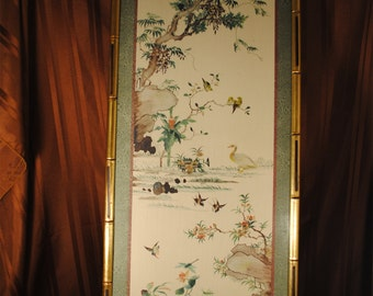 Vintage Chinese Silk Brocade Paintings - Pair of 2