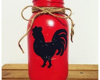 Mason Jar Decor, Rooster Mason Jar, Rooster Utensil Jar, Red Mason Jar, Rooster Kitchen, Utensil Holder, Kitchen Decor