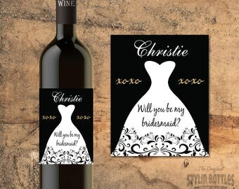 CUSTOM Bridesmaid-CUSTOM Maid of Honor Proposal Gift-Wine Bottle Label-Asking Bridesmaid-Asking Maid of Honor-Will You Be My Bridesmaid Gift
