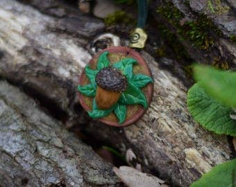 Acorn Medallion Necklace