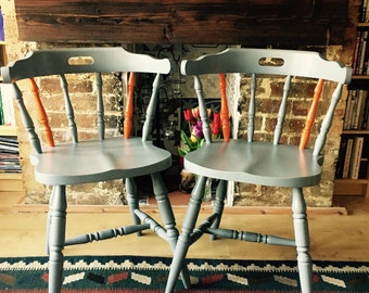Up-Cycled captain style carver chairs, set of 2
