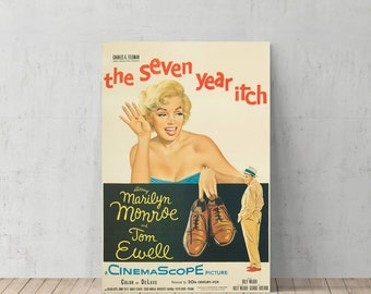 Marilyn Monroe Seven Year Itch Movie Poster Decorative Art Canvas Print Home Decor / Iconic Wall Art/ Gallery Wrapped Canvas/Ready to Hang