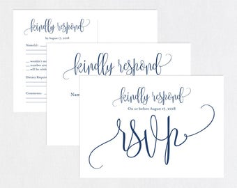 Navy Blue RSVP postcards templates, Wedding rsvp cards, wedding rsvp postcards, kraft rsvp card, RSVP Template, RSVP Postcard, WPC_657
