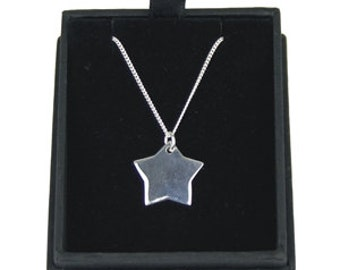 925 Silver Star Pendant On 18 Inch Chain Personalised Text Engraved - Wedding, Jewllery, Bridesmaid, Flower Girl, Birthday, Valentines Day