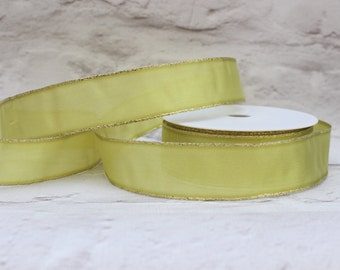 Wired Gold Edge Organza Ribbon, 1 Meter Organza Ribbon, 25mm Pale Green Ribbon, Christmas Ribbon, Gift Wrap, Etsy Shop Supplies.