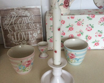 2 Hand painted Taper Candles Strawberry and spot design!
