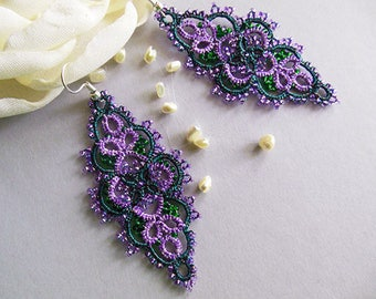 Jewelry lace earrings, tatted lace earrings, green-lilac  earrings,tatting jewelry, summer jewelry, gift for her