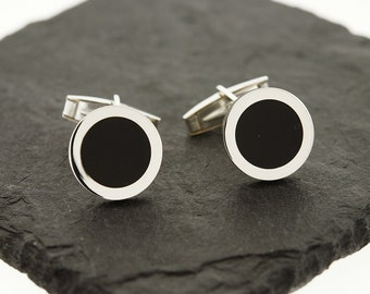 925 Sterling Silver Black Onyx Cuff Links