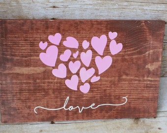 WOOD SIGN// Hand Painted//Hearts//Love//Anniversary Gift//Wedding Gift//Gift for Them//Gift for Her