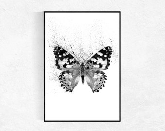Abstract Butterfly Print, Scandinavian Art Print, Nordic Print, Black And White, Minimalist, Abstract Wall Art, Black And White