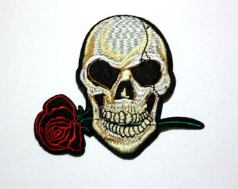 Grinning Skull with Red Rose Iron on or Sew on Patch - H141