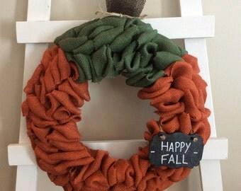 Pumpkin Wreath, Fall Wreath, Thanksgiving Wreath,Chalkboard Wreath, Front Door Wreath, Burlap Wreath