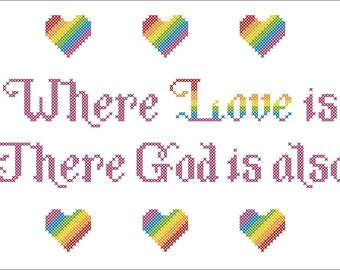 Where Love Is Rainbow Cross stitch Pattern PDF Instant Download