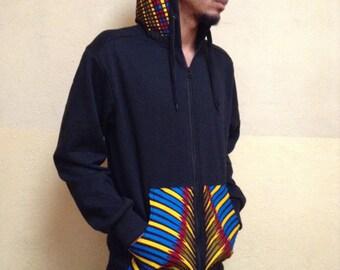 Black African print long sleeve hoodie