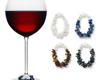 woodlands stone magnetic wine glass charms set of 4 beautifully unique wine charms by