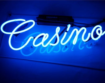 "Handmade 'Casino' Room Decor Play Room Art Light Neon Sign 14""x5"""
