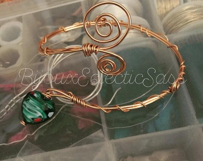 Adjustable Copper Wire Bracelet w/ Blue Heart Pendant
