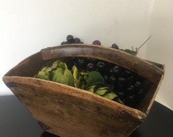 Vintage Wooden Basket- Antique Rice Basket