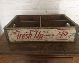 Vintage 7-UP Soda Wood Crate