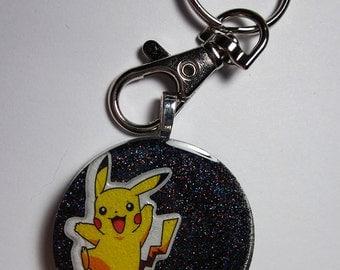 "POKEMON Pikachu Resin Charm Keychain [1.5""] (Black)"