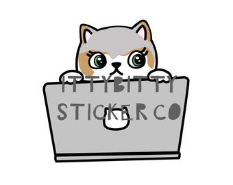 Mauly the Keyboard Warrier - Hand Drawn IttyBitty Kitty Collection - Planner Stickers