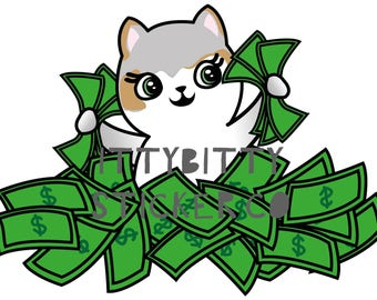 Mauly gets Paid - Hand Drawn IttyBitty Kitty  Collection - Planner Stickers