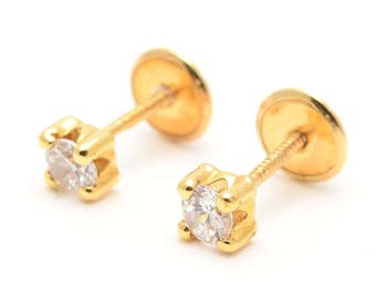 classic 14K solid gold stud earrings for girl and woman screw back - 14kt 5MM Garra Circonita para chica mujer señora