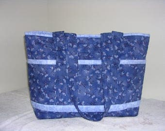 Navy Blue Petite Flowers w/ Light Blue Trim Quilted Tote Bag, Lrg