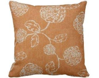 orange floral pillow cover - orange decorative pillow - orange throw pillow - orange accent pillow - orange magnolia pillow - magnolia home