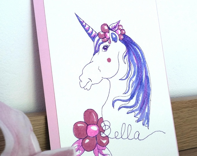 "Featured listing image: Card mailing watercolor ""Unicorn bella"""