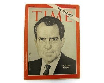 Presidential Election Richard Nixon Time Magazone 1968 with Old Advertising Ads Vintage