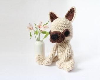Crochet Fawn French Bulldog – stuffed animal toy, handmade to order