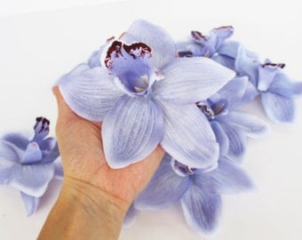 "Lot of 33 Orchids Artificial Silk Flowers Light Blue Orchids Measuring 6.5"" Floral Hair Accessories Flower Supplies Faux Fabric DIY W"
