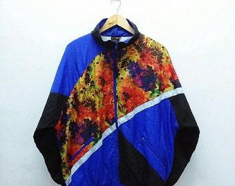 Hot Sale!!! Rare Vintage 90s RENNA METTI Tie Dye Multicolour Windbreaker Jacket Hip Hop Skate Swag Medium Size