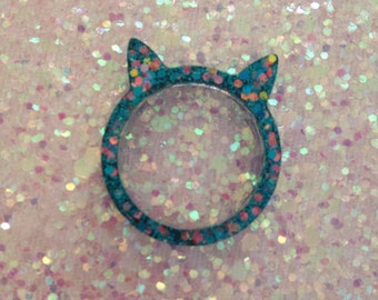 19mm turqouise and gold kitty ears statement ring
