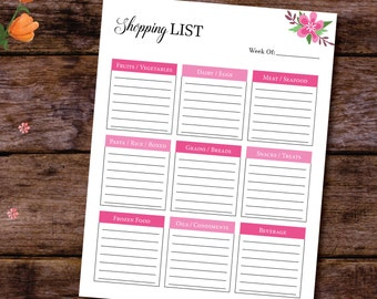 Grocery List Notepad, Meal Planning, A5 Planner Size, Menu Planner A4, A5 Planner Refills, Grocery List Printable, A5, US Letter