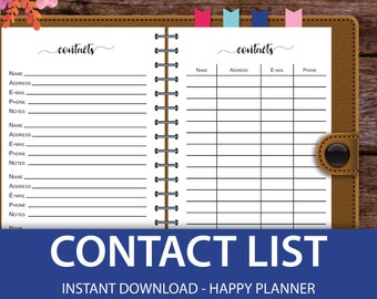 Contact Paper, Phone Number, Contact Page, Contact Number, Big Happy Planner Printable, Mini Happy Planner Inserts, Classic Happy Planner